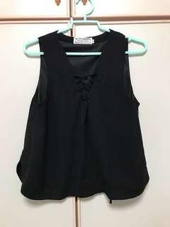 TTR Black Tie Up Front Sleeveless Top
