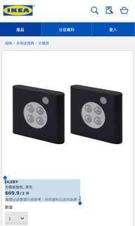 OLEBY 衣櫃感應燈, 黑色 (6件)
