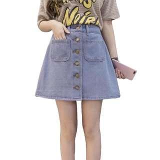 🚚 Light Denim Button Down Skirt