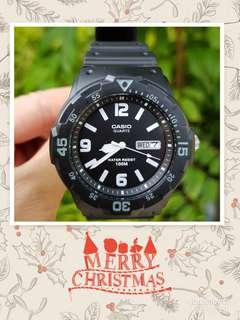 Guarantee 100% Brand new authentic Casio Watch Or Full Refund. Water Resistant 100M Black diver look analog watch  (1 available only ) Mrw 200H 1B Mrw200h Unisex Watch christmas sale ☃️🎅🎁🎄