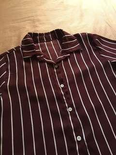 White striped maroon collared top
