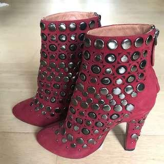 ALAIA studded red suede boots 窩釘紅色猄皮短靴
