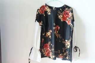 Blouse oclo hitam black bunga lucu