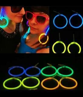 Glow in the dark hoop earrings