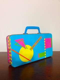 Vintage Abstract Art Empty Tin with Handle
