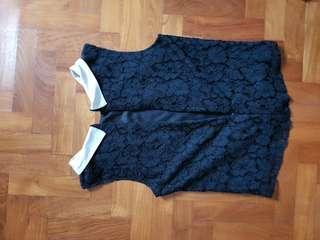 Peter pan collar lace Top in black