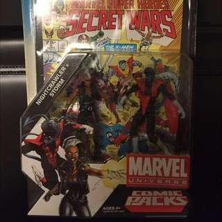 3.75寸action figure marvel universe comic packs nightcrawler & storm
