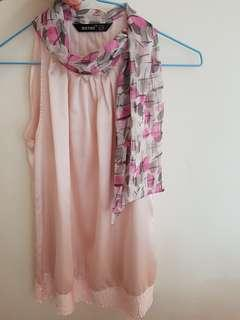 Light pink satin top with attached scaft