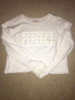 Supre White Sweatshirt Jumper Cropped