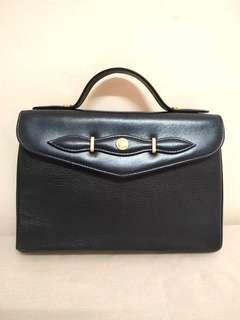Authentic Mila Schon Navy Blue Genuine Leather Handbag