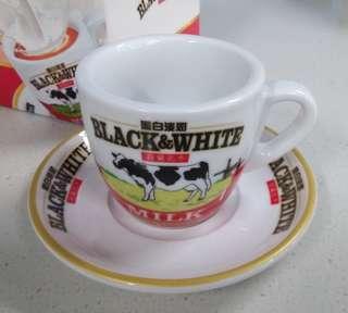 經典黑白淡奶 茶杯茶碟一套