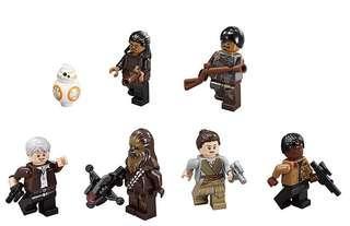 7 X Lego minifigs from star Wars 75105 Milenium Falcon(finn, rey, Chewbacca, bb-8, bb8, han solo, tasu leech, kanjiklub gang member)