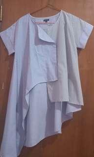 Berrybenka Top Shirt asimetric blue black
