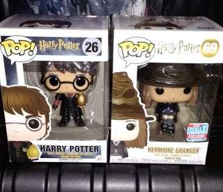 Harry Potter with Triwizard Egg & Hermione with Sorting Hat Funko Pop Bundle