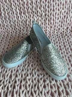 H&M silver glitter flat shoes