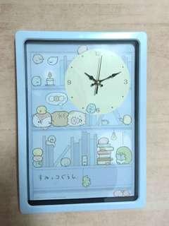 🚚 日本 SAN-X 角落生物 時鐘 掛鐘 淺藍色 方型