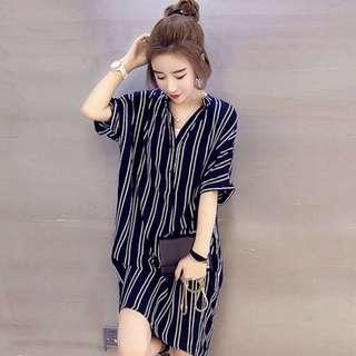 (PO)Blue Stripes Dress