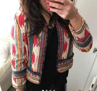 Bershka Zara Embellished Beaded Boho Cropped Jacket Celebrity Blogger