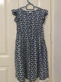 Blue Bird Print Dress