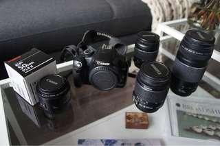 Canon camera package - body, 4 lenses + flash