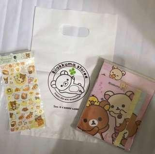 🌸 🇯🇵 日本製 日本正版 San-X Rilakkuma 鬆弛熊 啡熊 懶妹 白熊 豬鼻雞 信封信紙套裝 信封 信紙 貼紙 💌