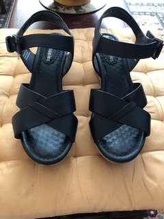Black leather high heels sandals