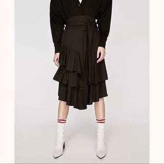 Zara Black Poplin Ruffled Skirt