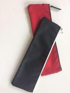 Black and red long pencil case