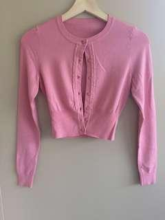 Review long sleeve cardigan pink