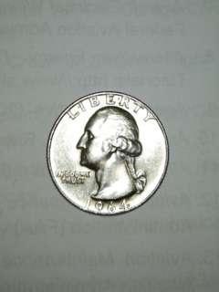 1964 Usa Silver Quarter Dollar