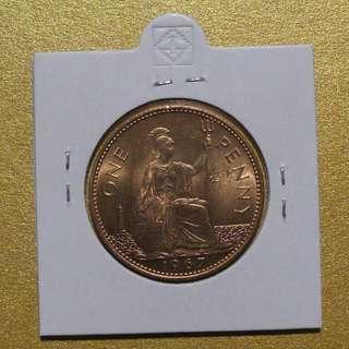 Beautifully Uncirculated and Lustrous Great Britain U.K 1967 Penny Queen Elizabeth II pre-decimal currency