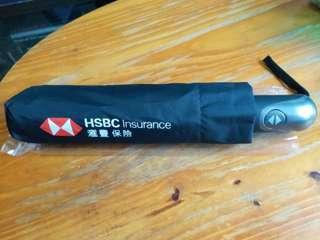 HSBC禮品 Umbrella 三節縮骨雨傘 (自動開關) 顏色:黑色Black 尺寸:直徑~97cm、長度~28cm