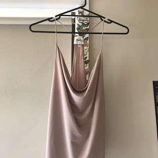 dusty pink cowl neckline cami top