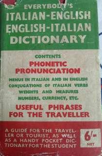 Buku Antik Everybody's Italian English and English Italian Dictionary
