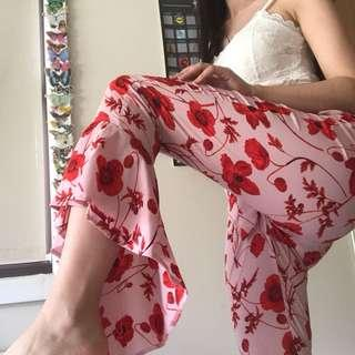 pink and red floral printed pants