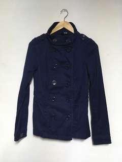 🚚 H&M 女款 短版軍裝風衣外套女款 雙排扣 藍色 size m