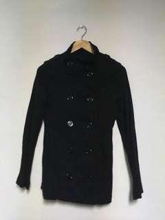🚚 H&M 女款 短版軍裝風衣外套 雙排扣 黑色 size m