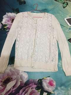 Zara cardigan broken white lacey