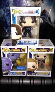 Winter Soldier, Thanos with Rune & Captain America with Wakanda Shield Avengers Infinity War Marvel Funko Pop Bundle