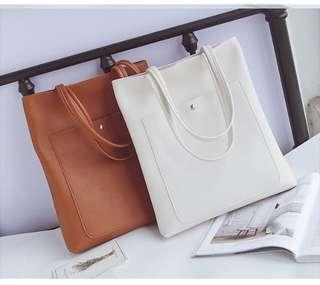 [PO] Basic PU Leather Tote Bag with Front Pocket