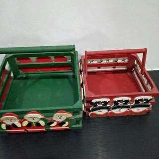 4 Sides With Xmas Santas Claus Basket  Holder