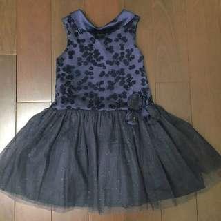 🚚 [二手]女童洋裝 小禮服 女寶蓬蓬裙 無袖背心洋裝 深藍色 閃亮奢華風 4歲半~6歲