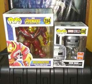 "Iron Man Mark 1 2018 Summer Convention Exclusive & Hulkbuster 6"" Avengers Infinity War Marvel Funko Pop Bundle"