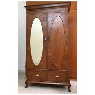 British Colonial Burmese Teak Wood Parquetry Wardrobe