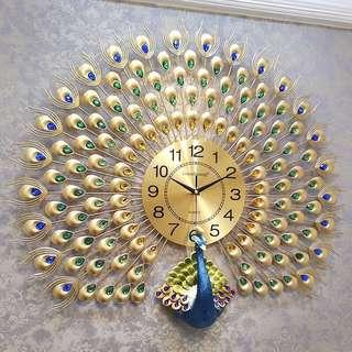 Peacock Gold Wall Clock (metal, jewels, luxury)