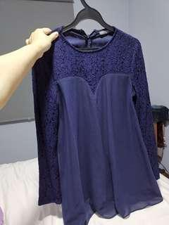 Poplook Navy Blue Lace top