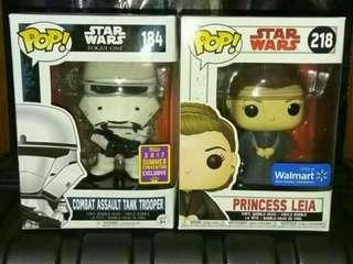Star Wars Combat Assault Tank Trooper & Princess Leia Funko Pop Bundle