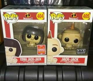 Edna Jack-jack & Jack-jack in Diaper The Incredibles 2 Disney Funko Pop Bundle