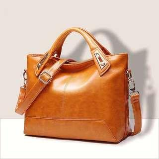 Leather Hand bag for women handbag woman office work bag with sling plain simple tote bag smooth leather vintage