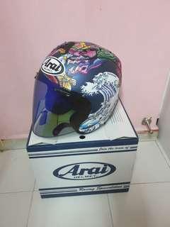 matt blue oriental arai helmet
